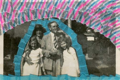 Collage over a vintage family photo decorated with light blue and striped washi tape.