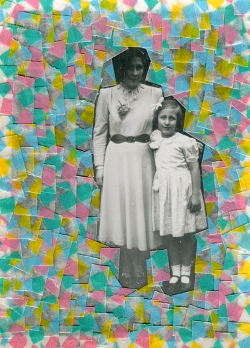 Collage created over a mother and daughter photo decorated with squared washi tape.