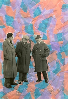 Collage created over a vintage men photo decorated with lilac, salmon pink and light blue washi tape.