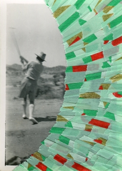 Collage created over a vintage photo about a woman playing golf decorated with green, red and gold washi tape.