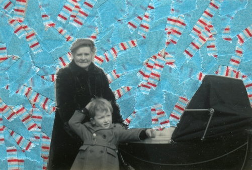Collage created over a vintage photo decorated with light blue and striped washi tape.