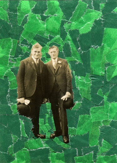 Collage created over a vintage men photo decorated with green washi tape.