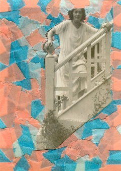 Collage created over a vintage woman photo decorated with blue, light blue and salmon pink washi tape.