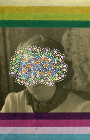 Collage of a woman portrait with the face covered with little coloured dots created with posca pens. The photo is also decorated with striped and coloured washi tape on the top and below the woman face.