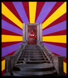Collage of stairs that end into an open door where it's displayed the symbol of the third eye and the universe as a background.
