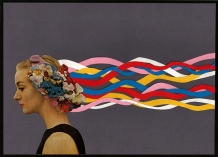 Collage of a woman seen in profile wearing flowers in her head. The hair is also decorated with coloured paper strips.