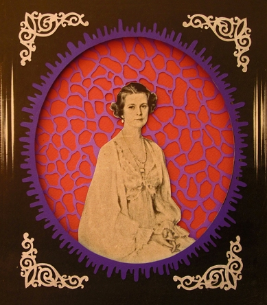 Collage of coloured paper cuts with a vintage image of a woman portrait in the centre.