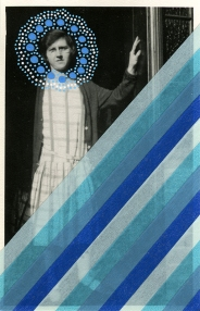 Collage of a woman portrait that is showing herself through a door. The photo is decorated with striped blue and light blue washi tape and dots made with posca pens that are around the face of the subject.