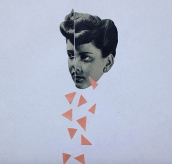 Collage of a female face cut in half with some triangles of paper falling under.
