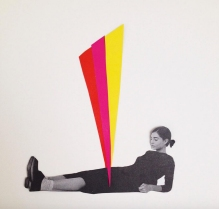 Collage of a full body woman lying in the ground with a giant colorful triangle that is cutting her in half.