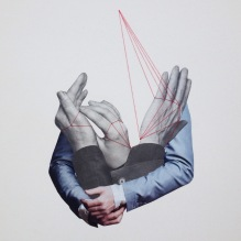 Collage of a group of hands with some red thread passing through them.