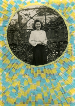 Collage created over a vintage smiling woman photo decorated with yellow and light blue washi tape and yellow posca pens.
