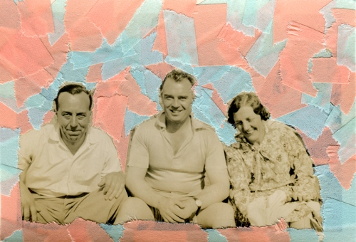 Collage created over a vintage smiling group photo decorated with light blue and salmon pink washi tape.