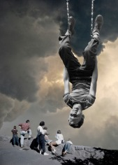 Collage of an upside down kid with a group of people in the background watching behind the landscape.