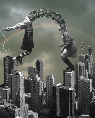 Collage of a couple of headless kids jumping the rope over the skyscrapers.