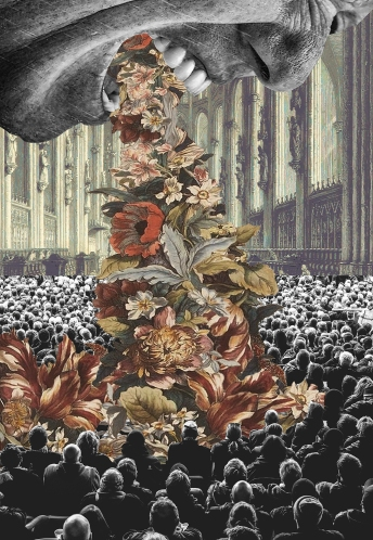 Collage of a giant mouth throwing out flowers over a small crowd of people.