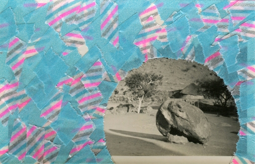 Collage created over a vintage seascape photo decorated with light blue and striped washi tape.