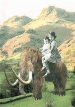 Collage of two kids sit over a mammoth and surrounded by a mountain landscape.