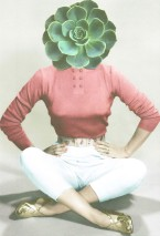 Collage of a woman sit on the ground with a fat plant head.