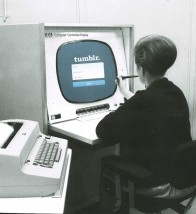 Collage of a woman working on a vintage computer with a Tumblr homepage on her screen.