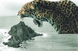 Collage of a giant leopard with the mouth open seen on profile that is surrounded by a seascape.