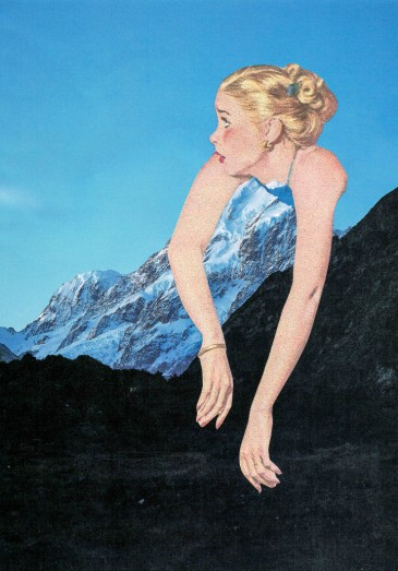 Collage of a young giant woman coming out from a mountain.