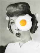 Collage of a classic pin up portrait with a fried egg that is covering an eye of the subject.