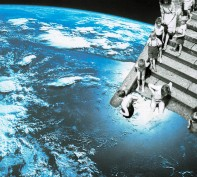 Collage of a group of kids going down from the stairs and submerging themselves into the planet earth seen from the space.