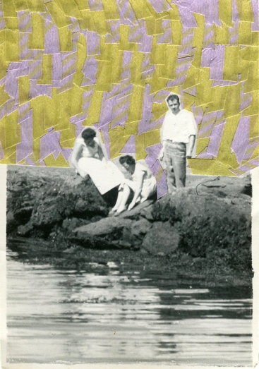 Collage created over a vintage group of people photo decorated with lilac and green washi tape.