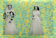 Collage created over a vintage wedding photo decorated with green and yellow washi tape.