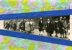 Collage created over a group of women vintage photo decorated blue, light blue, green and lilac washi tape.