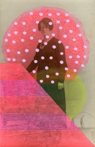 Collage realised over a vintage woman portrait and decorated using stripes of fluorescent washi tape and pink pen decorations.