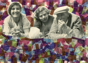 Collage created over a vintage group of people photo decorated with multi coloured washi tape.
