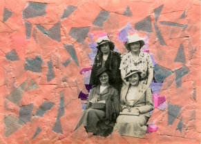 Collage created over a vintage women photo decorated with salmon pink and grey washi tape.