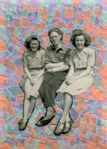 Collage created over a vintage photo of smiling people decorated with light blue, pink, salmon pink and lilac washi tape.