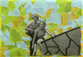 Collage created over a vintage photo decorated with light blue, orange and green washi tape.