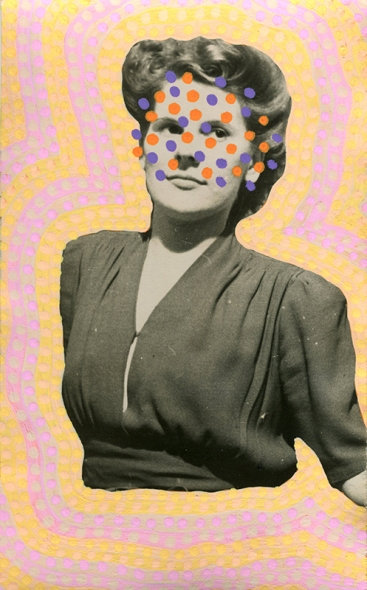 Collage created over a vintage young woman portrait. The subject is surrounded by yellow and pink pastel colours and her face is partially covered with orange and purple dots created with Posca pens.