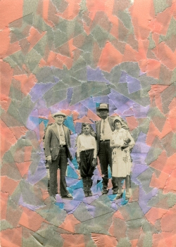 Collage created over a vintage family photo decorated with salmon pink, grey and lilac washi tape.