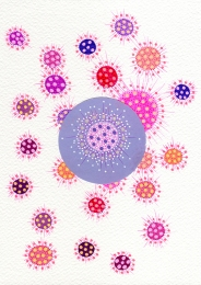 Abstract collage of organic and geometric forms with pink and purple shades.