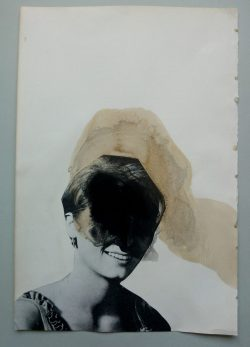 Collage on paper of a woman head decorated with black acrylics and coffee.