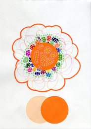 Abstract collage of organic and geometric forms using orange shades.