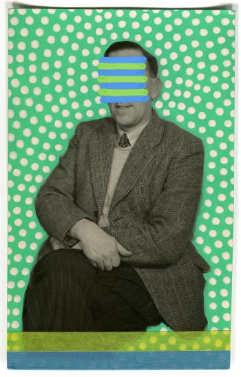 Collage realised over a vintage portrait of a man decorated using posca pens and washi tape.