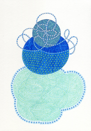 Abstract collage of organic and geometric forms created using blue and sea blue colours.