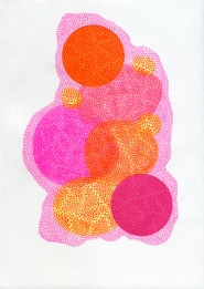 Abstract collage of organic and geometric forms created using fluorescent colours covered by a crochet texture.