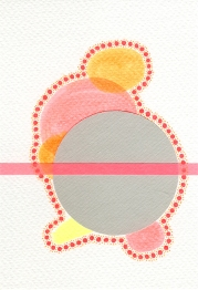 Abstract collage of organic and geometric forms realised with fluorescent orange, red and yellow and a big grey circle.