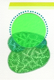 Abstract collage of organic and geometric forms realised with fluorescent green paper, pens and washi tape.