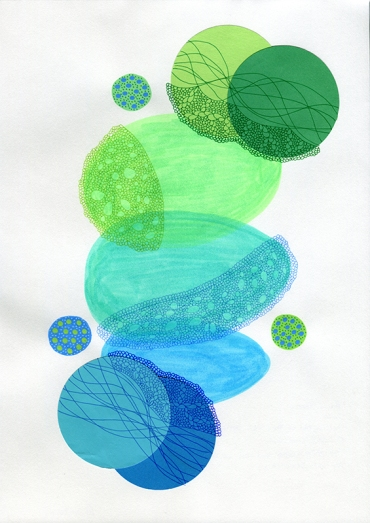 Abstract collage of organic and geometric forms realised using fluorescent green, light blue and blue colours.