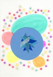 Abstract collage of organic and geometric forms realised using blue and light blue washi tape over a blue circular piece of paper and some other circular elements done with pens.