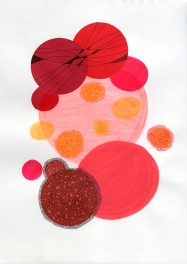 Abstract collage of organic and geometric forms realised using several shades of red colours and black decorations.