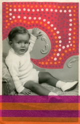 Collage realised over a vintage portrait of a baby boy using washi tape and posca pens.